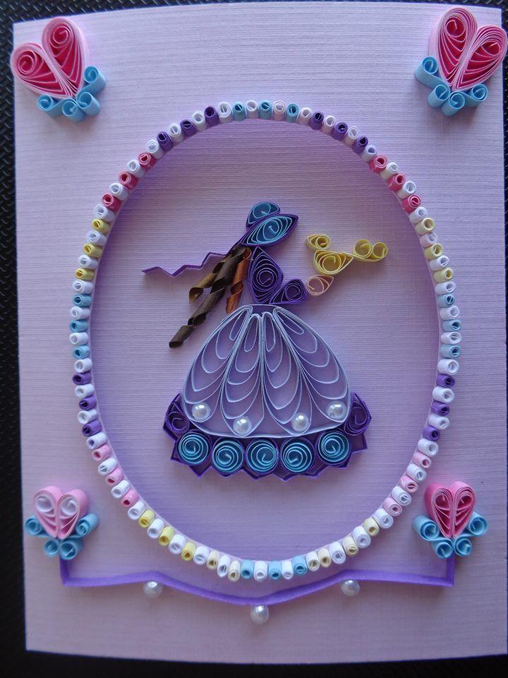 Квиллинг открытки для девочки, маками бумаги