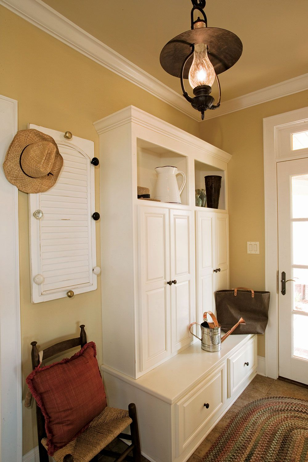 Consider a home plan with separate mud and utility rooms for Cedar ridge storage