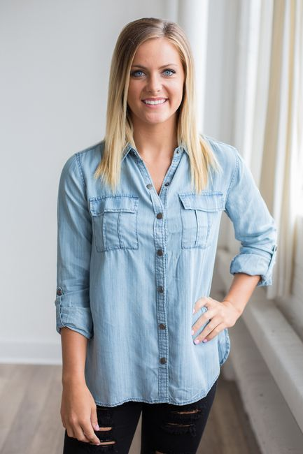 Shop our Snap Front Chambray Shirt. Light wash chambray shirt featuring snap…