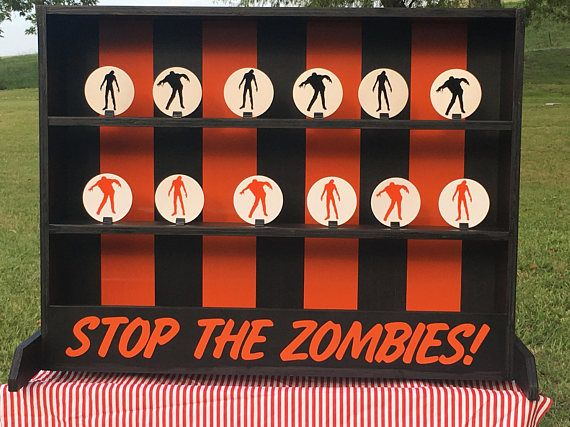 Zombie Theme Tabletop Shooting Gallery Carnival Game For