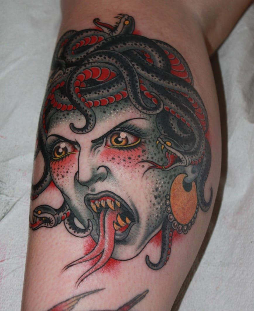 17+ Awesome American traditional medusa tattoo image HD