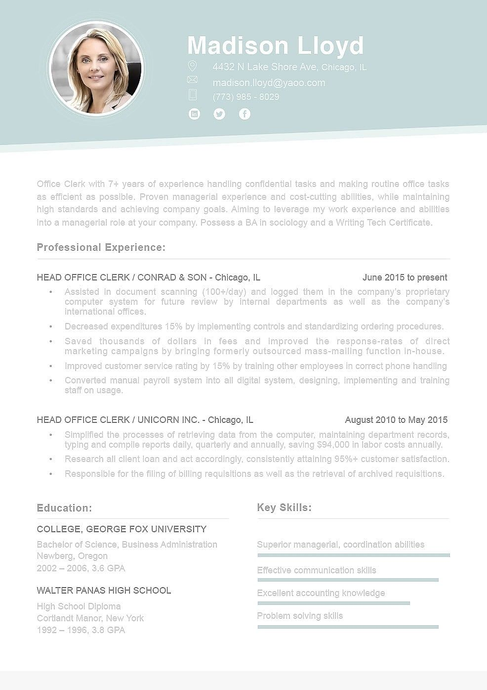 Resume Template 110690 (With images) Resume examples