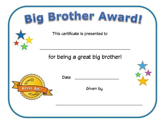 graphic regarding Free Printable Award Certificates for Elementary Students referred to as significant brother award certification Jonah Award certificates