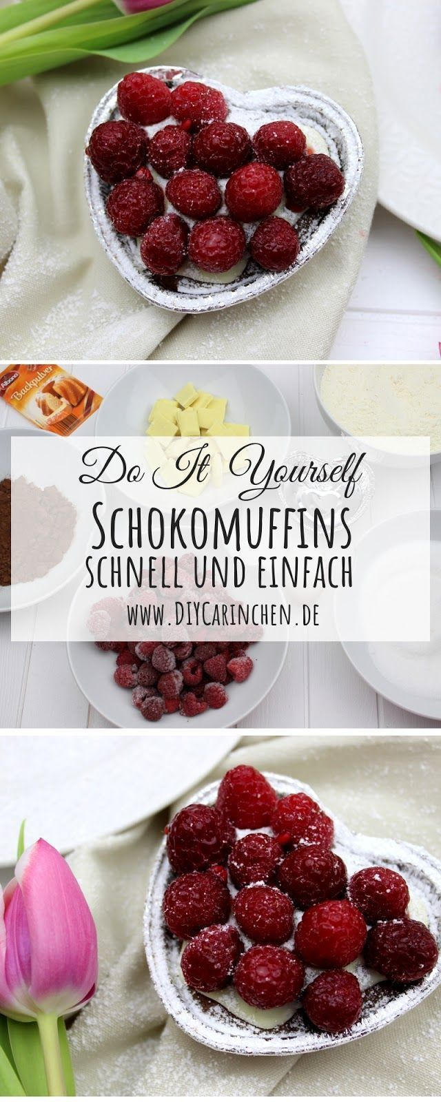 Rezept: Schokomuffin mit einem Topping aus Himbeeren und weißer Schokolade - perfekt für den Muttertag oder Valentinstag -