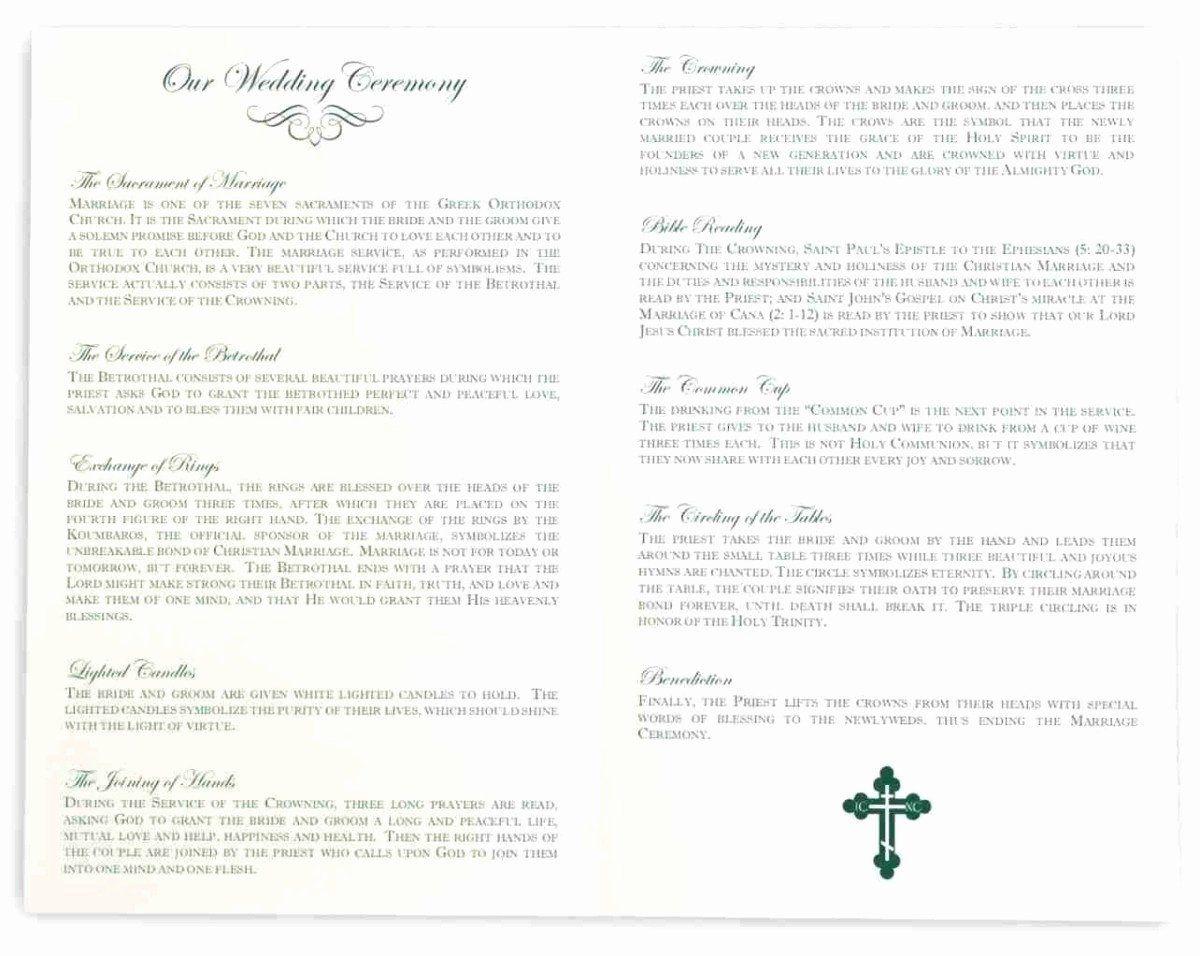Catholic Wedding Program Template without Mass Beautiful