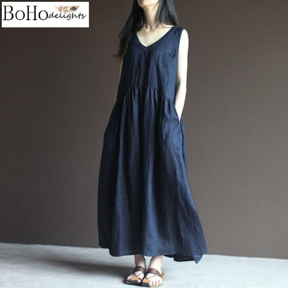 Elegant Boho Cotton Linen V Neck Sleeveless Maxi Dress Price