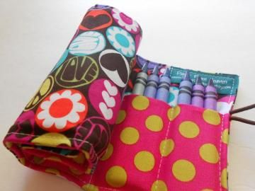 Crayon Roll - Peace, Love, Happiness - holds 24 crayons by paperfromheaven for $11.00