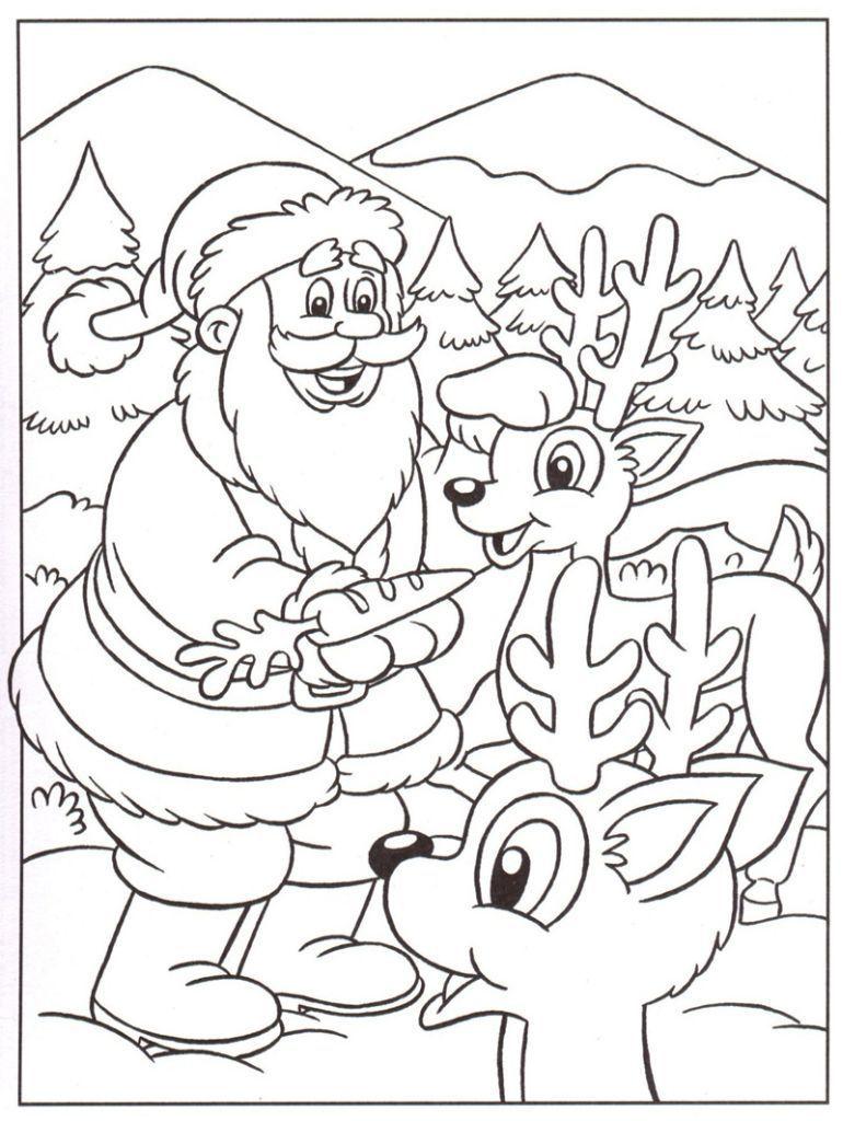 Pour imprimer ce coloriage gratuit coloriage pere noel rennes cliquez sur l 39 ic ne imprimante - Coloriage de noel a imprimer gratuitement ...