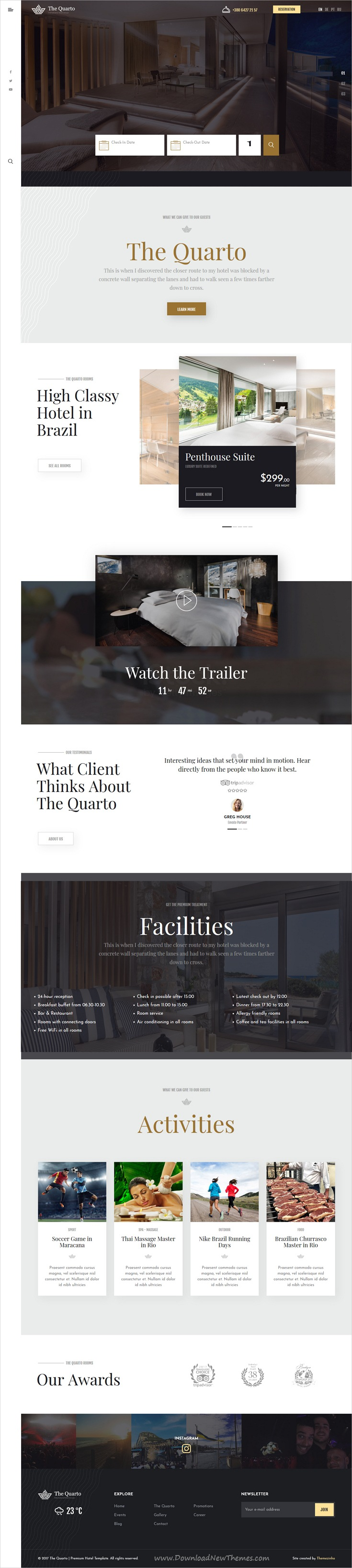 The Quarto | Premium Hotel HTML Template | Html templates, Premium ...