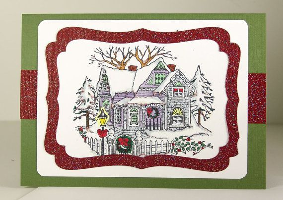 Christmas Card with a Victorian House by FlowerchildCardShop, $6.00