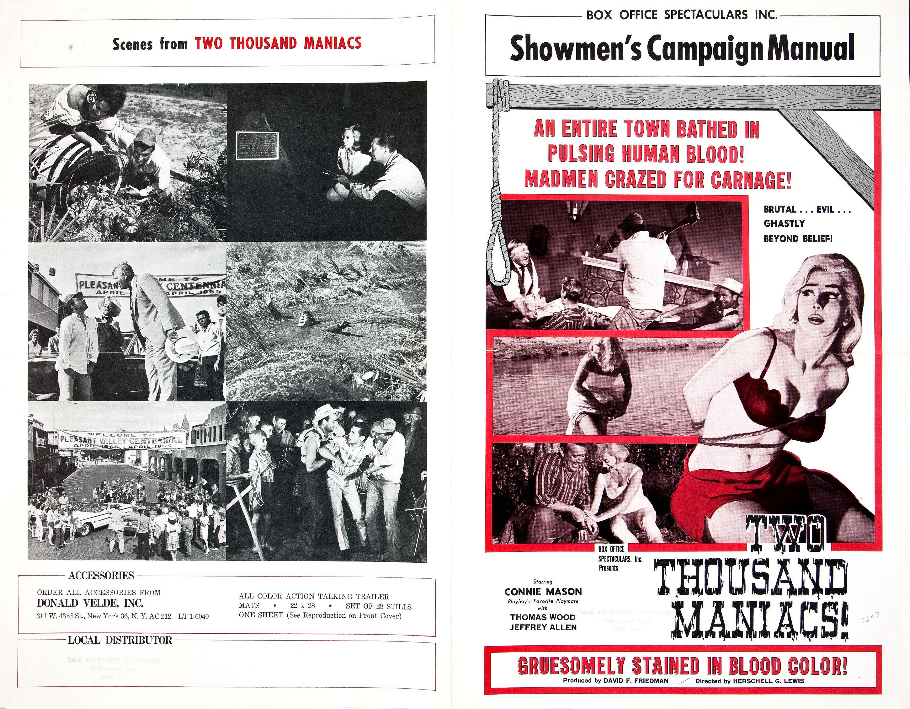 Two Thousand Maniacs Vintage Movie Poster 24x36