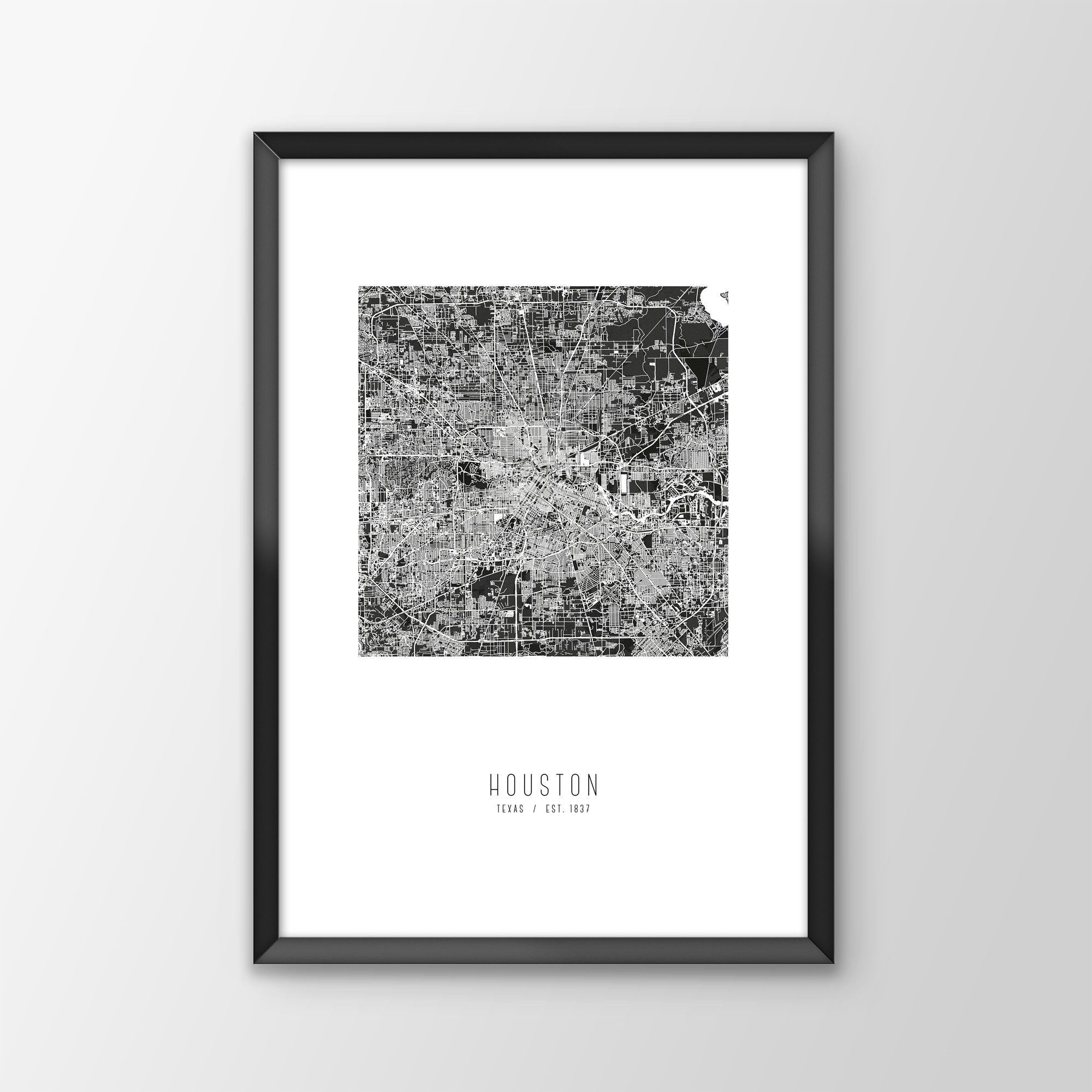 Houston Chicago Map%0A Houston City Map Print