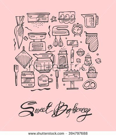 Thin Line Sweet Bakery Kitchen Hand Draw Vector Icons Set Icons