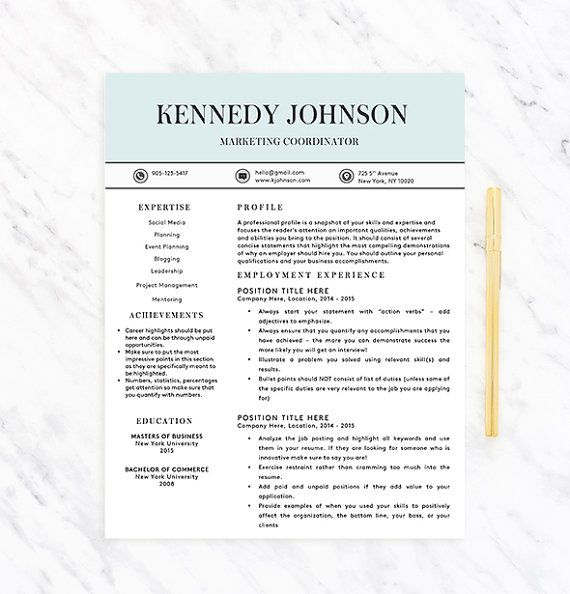 Classy Professional Resume Template For Word  Resume  Extras
