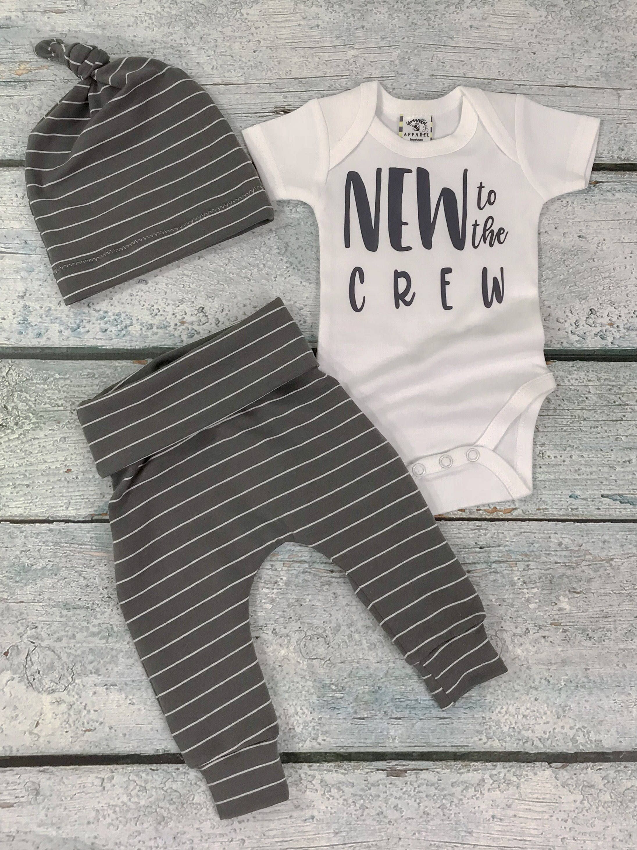 bada71753 baby boy coming home outfit/new to the crew set/going home set/baby boy  charcoal stripe set by bibitibobitiboutique on Etsy