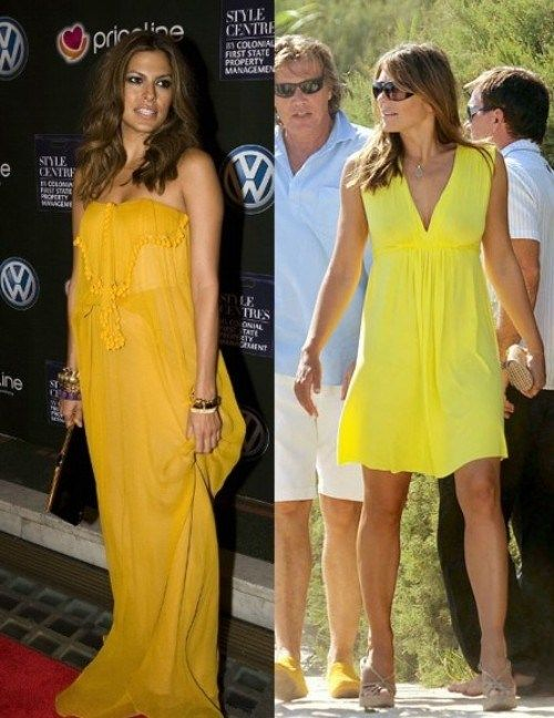 Eva Mendes and Elizabeth Hurley Love Yellow - Here are two celebs that are definitely not afraid of colors. Of bright, powerful, vibrant colors - and their pick is yellow (different shades, that's...