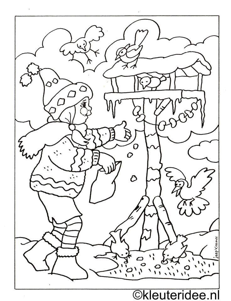 Kleurplaat Meisje Met Vogelhuisje Kleuterideenl Zvierata V Zime