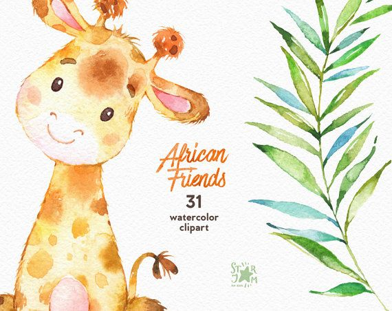 African Friends Elephant Lion Giraffe Watercolor Animals