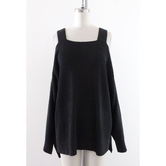 204169e0c853 The Shrug it Off Sweater is made in a black knit and features off-the- shoulder design with straps. Wear it with ...