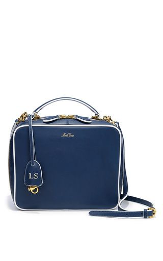 Monogrammable Laura Shoulder Bag in Smooth Navy & White Calf Leather by Mark Cross for Preorder on Moda Operandi
