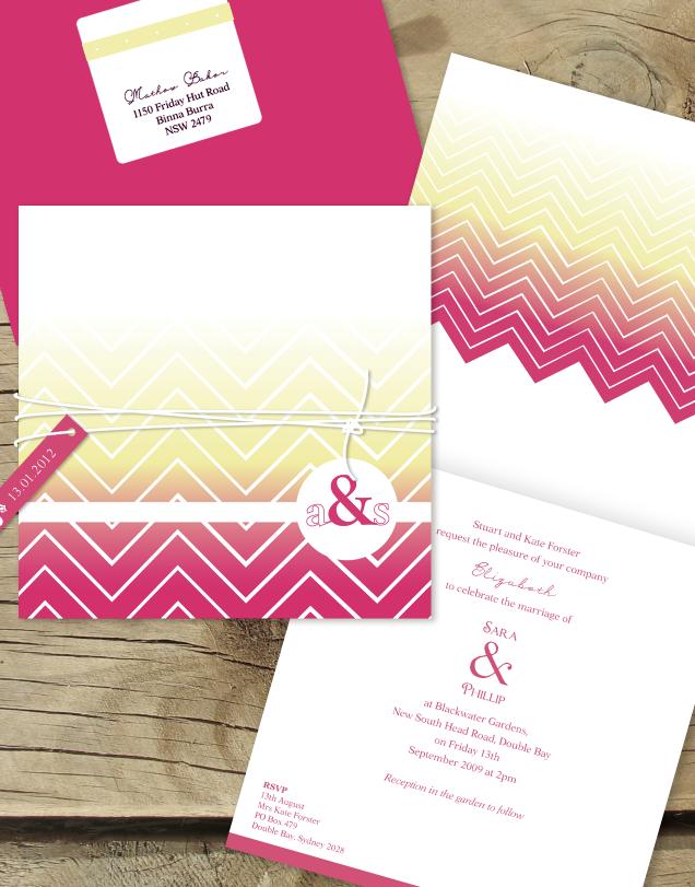 Chevron in sunrise lilykiss wedding invitations