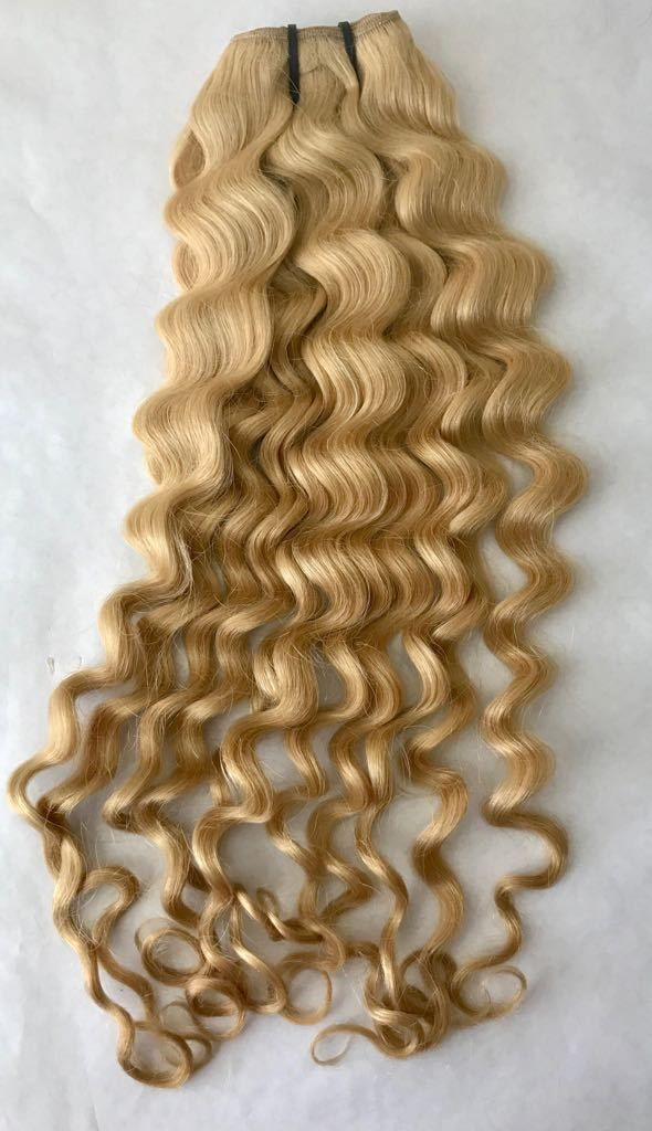 Loose Curl Golden Blonde Curly Hair Extension Weft Pale Blonde 22
