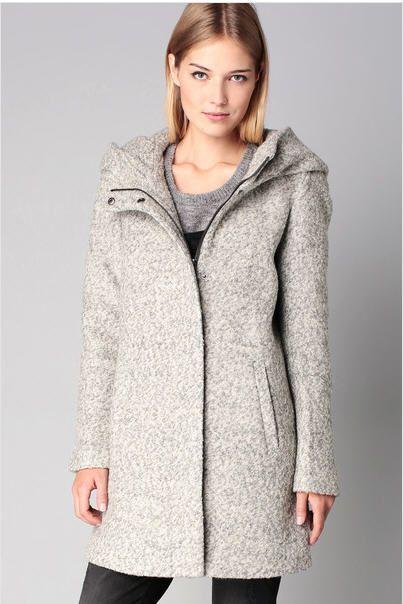 c6ceb3e1fa8b Caban laine capuche gris chiné bouclettes Indie Only prix promo Manteau  Femme Monshowroom 84.95 €