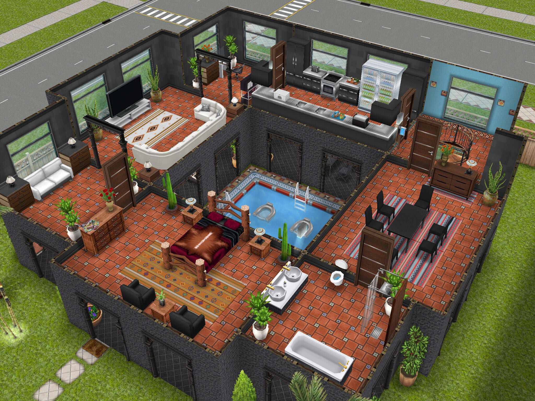 Variation on stilts house design i saw on pinterest for Pool designs sims 4