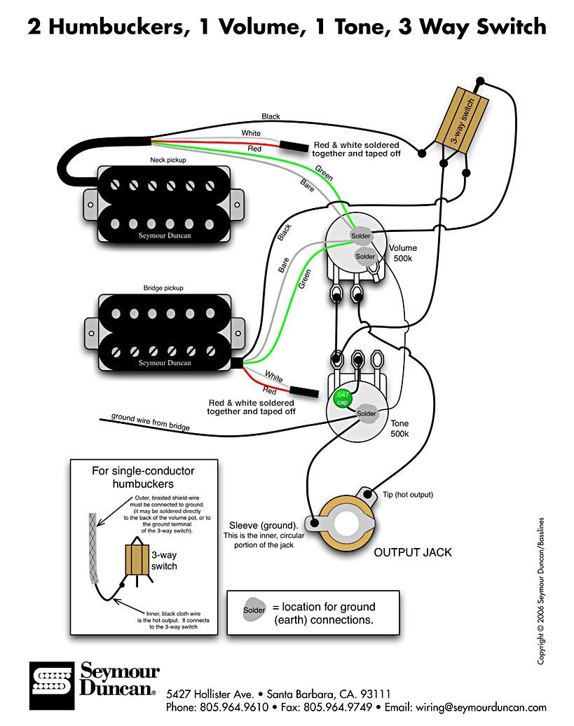 guitar wiring diagram 2 humbucker 1 volume
