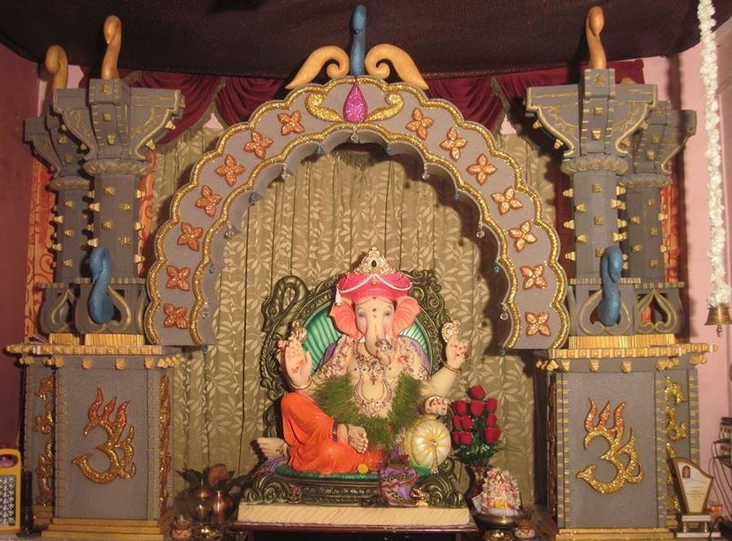 Ganesh Pooja Decoration with Thermocol Ganesh Chaturthi