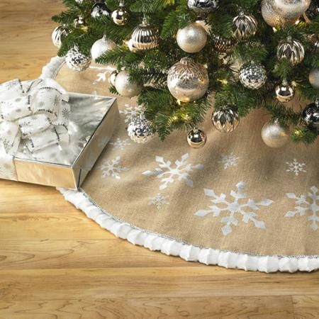 Holiday Time 56 Burlap Tree Skirt With Printed Foil Snowflakes