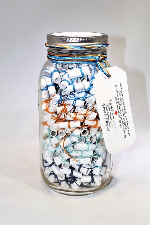 365 Message Filled 64 oz Mason Jar -Personalized Multi-Colored Fun! Wish Jar