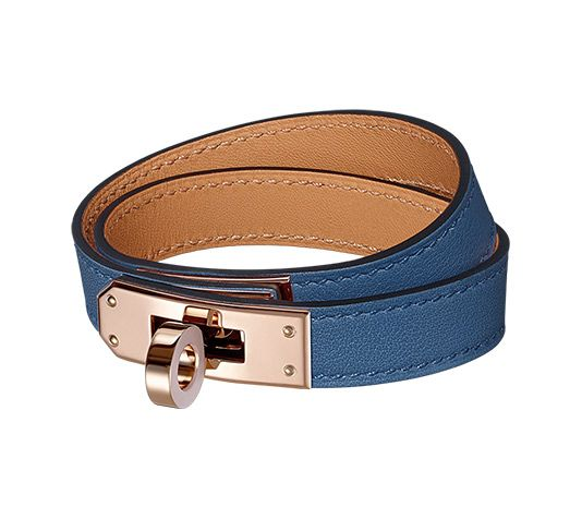 Kelly Double Tour Hermes leather bracelet (size XS) Swift calfskin Rose  gold plated hardware, 13.5