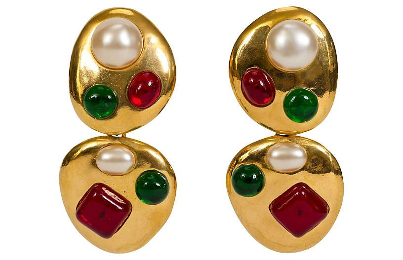 8b3c9aa0a46921 Chanel Gripoix Collectible Drop Earrings - Vintage Lux | Products in ...
