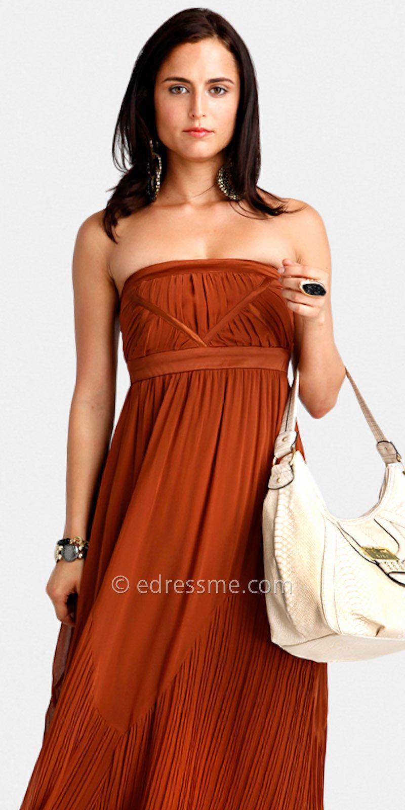 Rust Pleated Strapless Maxi Dress 56 Bridesmaid