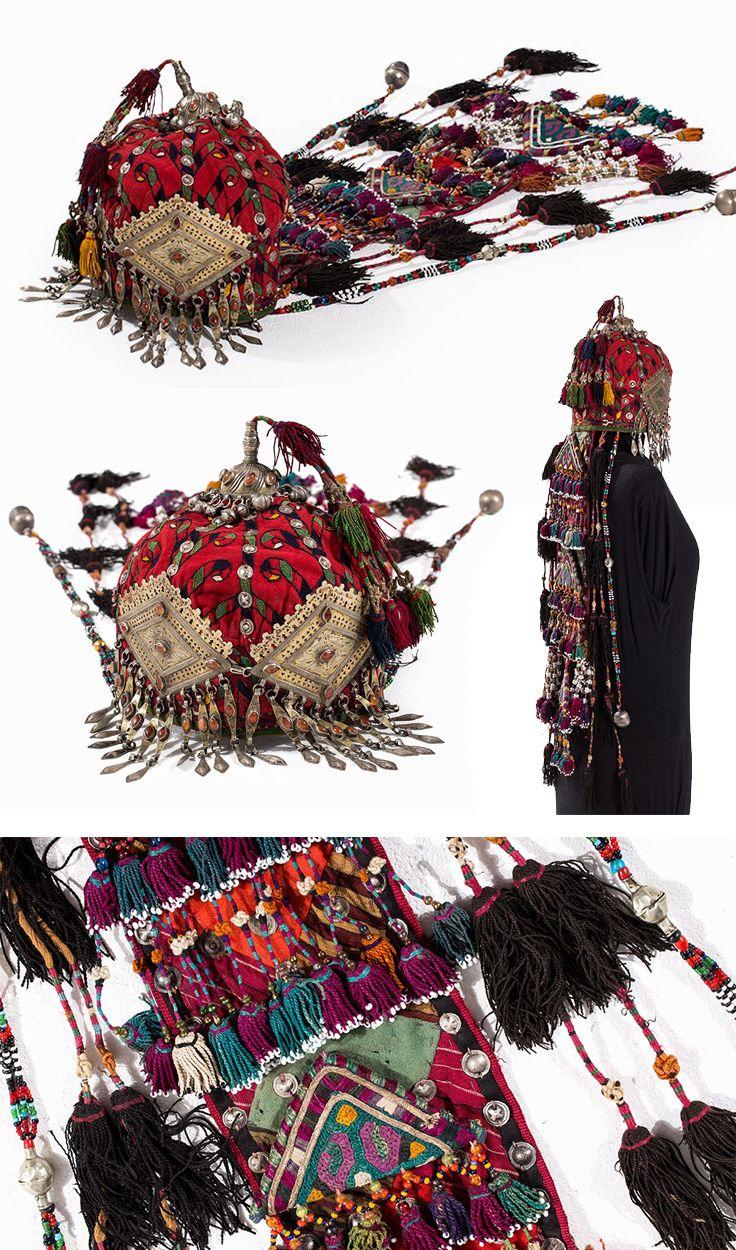 Turkmenistan / Afghanistan   Turkoman Wedding Headdress; Stitched cotton, glass beads, carnelian, brass, metal   ca. 1900   Est. 2'400€ ~ (Jan '15)
