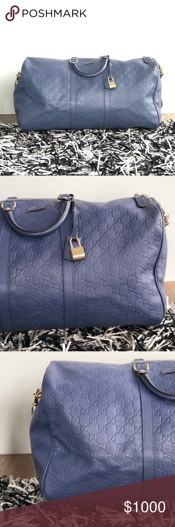 7acac87ef2c9 Gucci limited edition large duffle bag blue Gucci GG soft leather limited  edition carry on duffel
