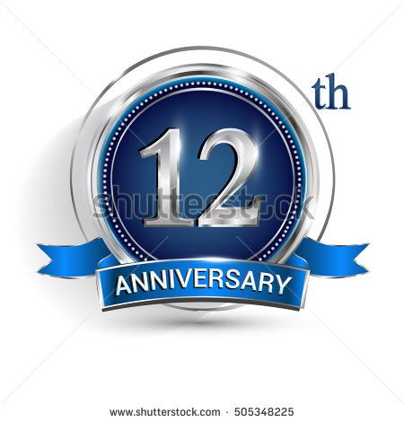 Celebrating 12th Anniversary Logo With Silver Ring And Blue Ribbon Isolated On White Background Anniversary Logo 41st Anniversary 50th Anniversary Logo