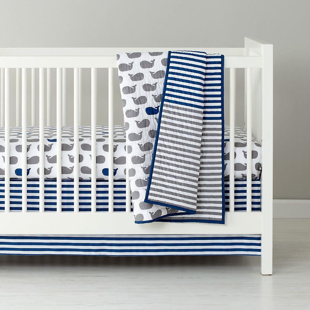 Baby Bedding Grey Blue Whale Crib Bedding The Land Of Nod Boy