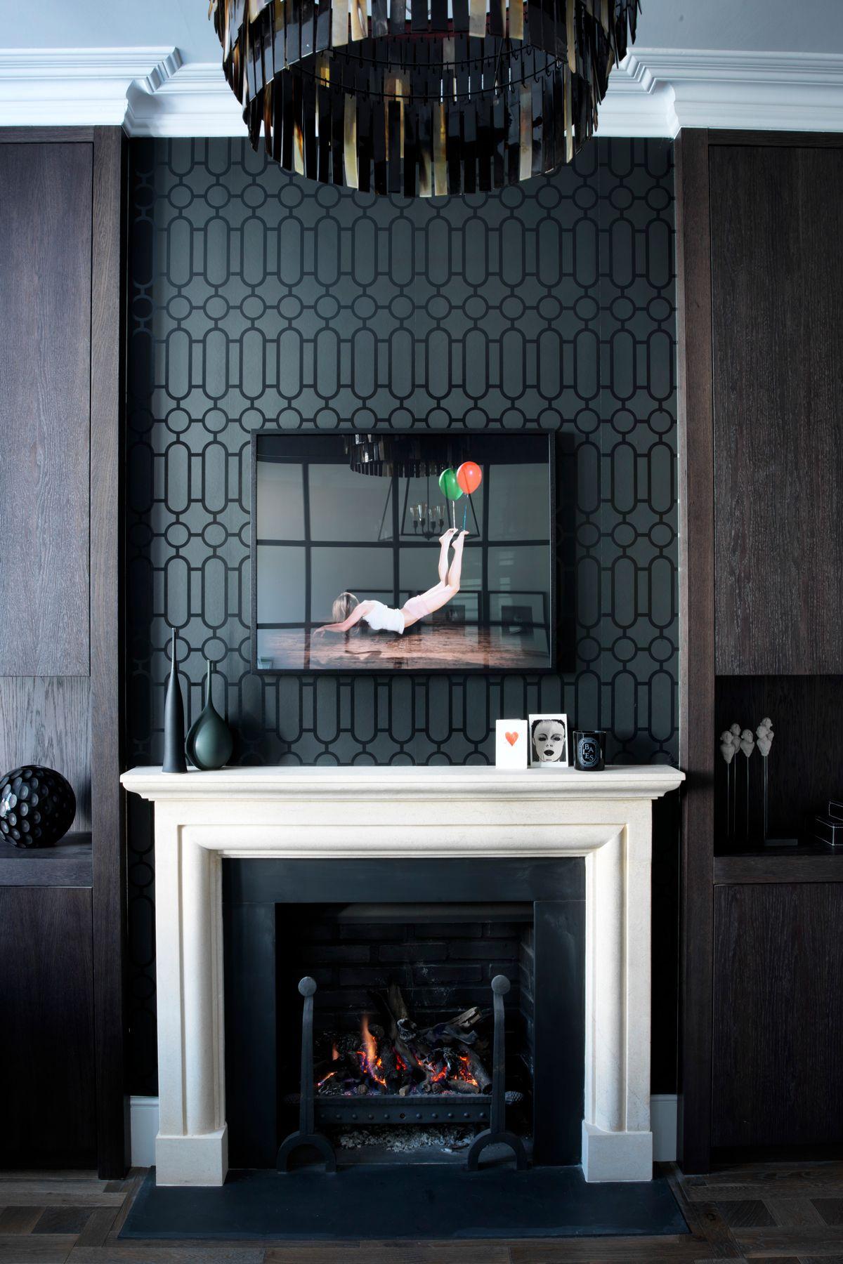 Urban Glamour 44 Black Wallpaper Living Room Fireplace Feature Wall Wallpaper Living Room