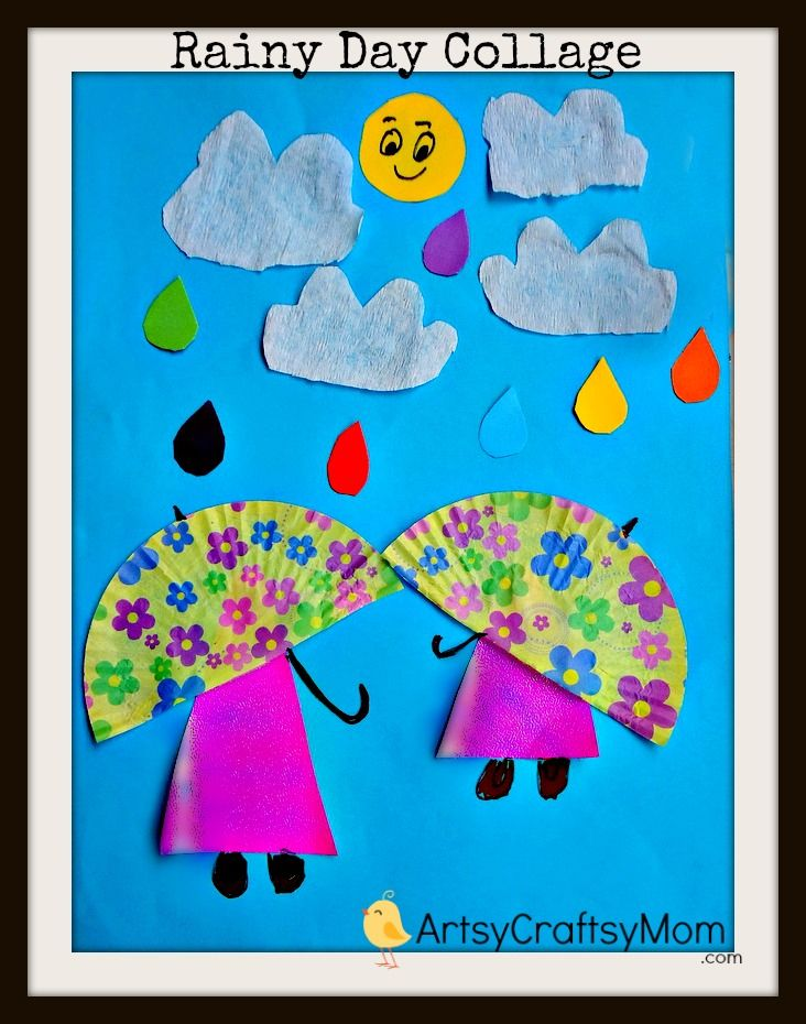 10e379e67653 Rainy Day Paper Collage Art for Kids   Spring Crafts & Activities ...