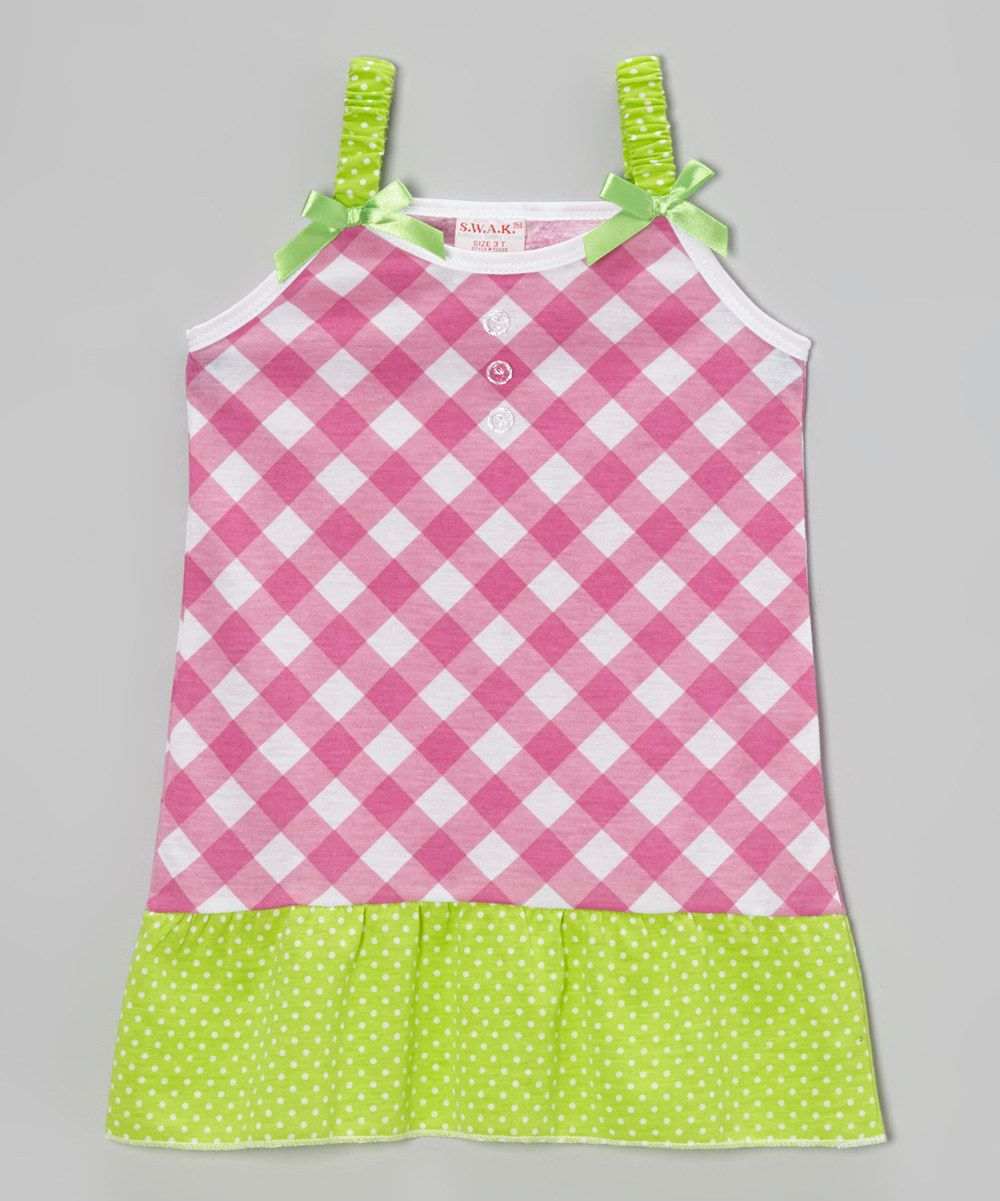 Pink Plaid Polka Dot Bow Dress - Toddler & Girls