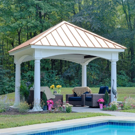 Hampton Pavilion Outdoor Pavilion Outdoor Copper Metal Roof