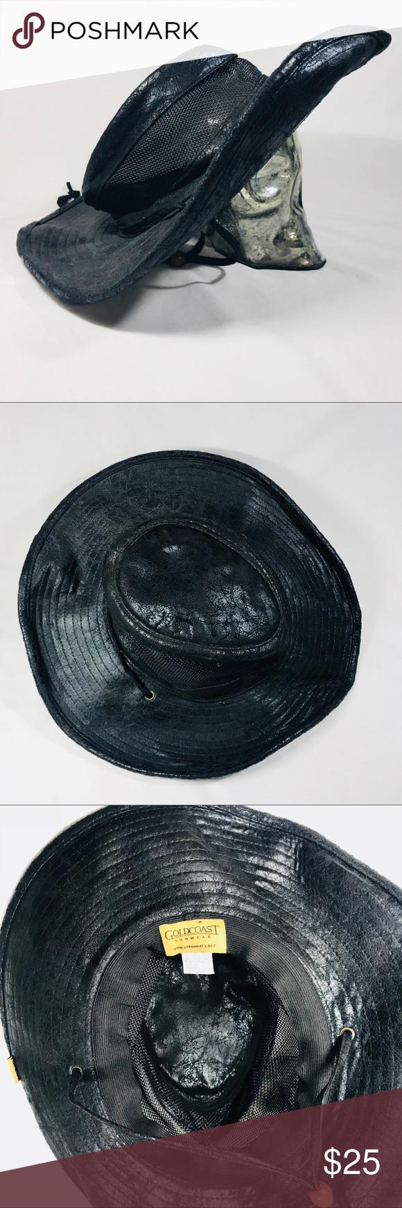 f3eaffc4aac18 GoldCoast Sunwear Black Wide Brim W Mesh Sun Hat GoldCoast Sunwear Black  Wide Brim W Mesh Sun Hat Gold Coast Accessories Hats