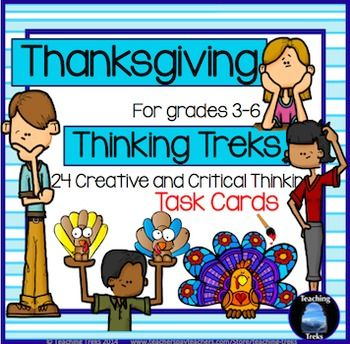 Thanksgiving fun! Lots of reading, writing and discussion to be had in this set of 24 critical and creative task cards! $
