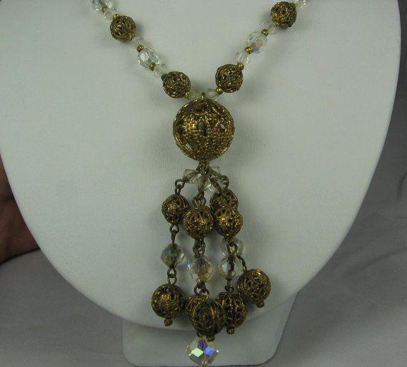 Vintage Crystal Pierced Brass Tassle Necklace by TheFashionDen, $25.00