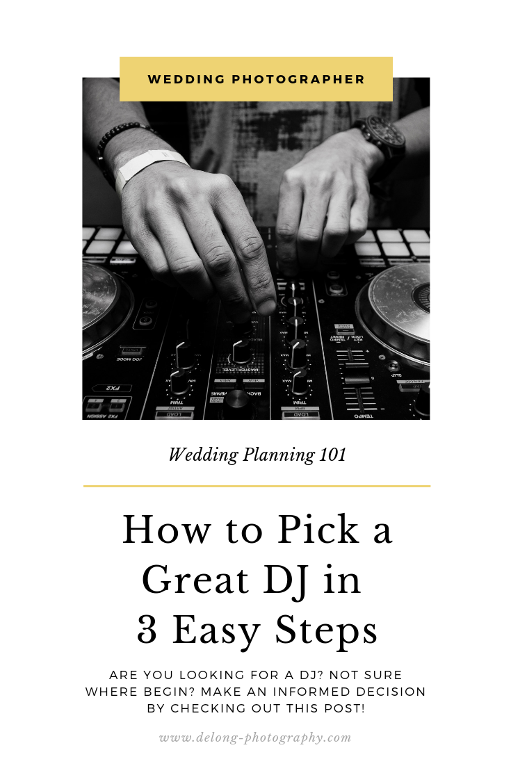 Choosing a DJ is a little more intensive than just finding someone with a playlist and a good set of speakers.  Are you looking for a DJ? Not sure where begin? Make an informed decision by clicking through this pin!  #weddingdj #Weddingentertainment #delongphotography #weddingmusic #dj