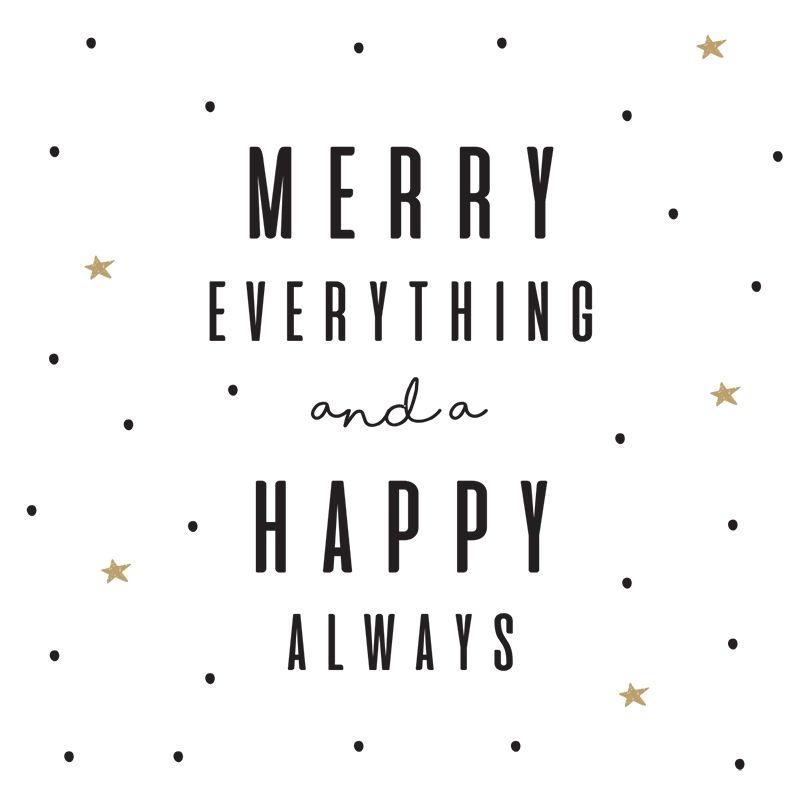 Kerst Kaart Merry Everything And A Happy Always Formaat Vierkant 9 8 X 9 8 Cm Papier 300 Grams Sirio Pearl Polar Dawn K Kerst Kaarten Kerstwensen Woorden