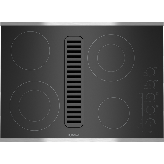 Electric Radiant Downdraft Cooktop With Electronic Touch Control