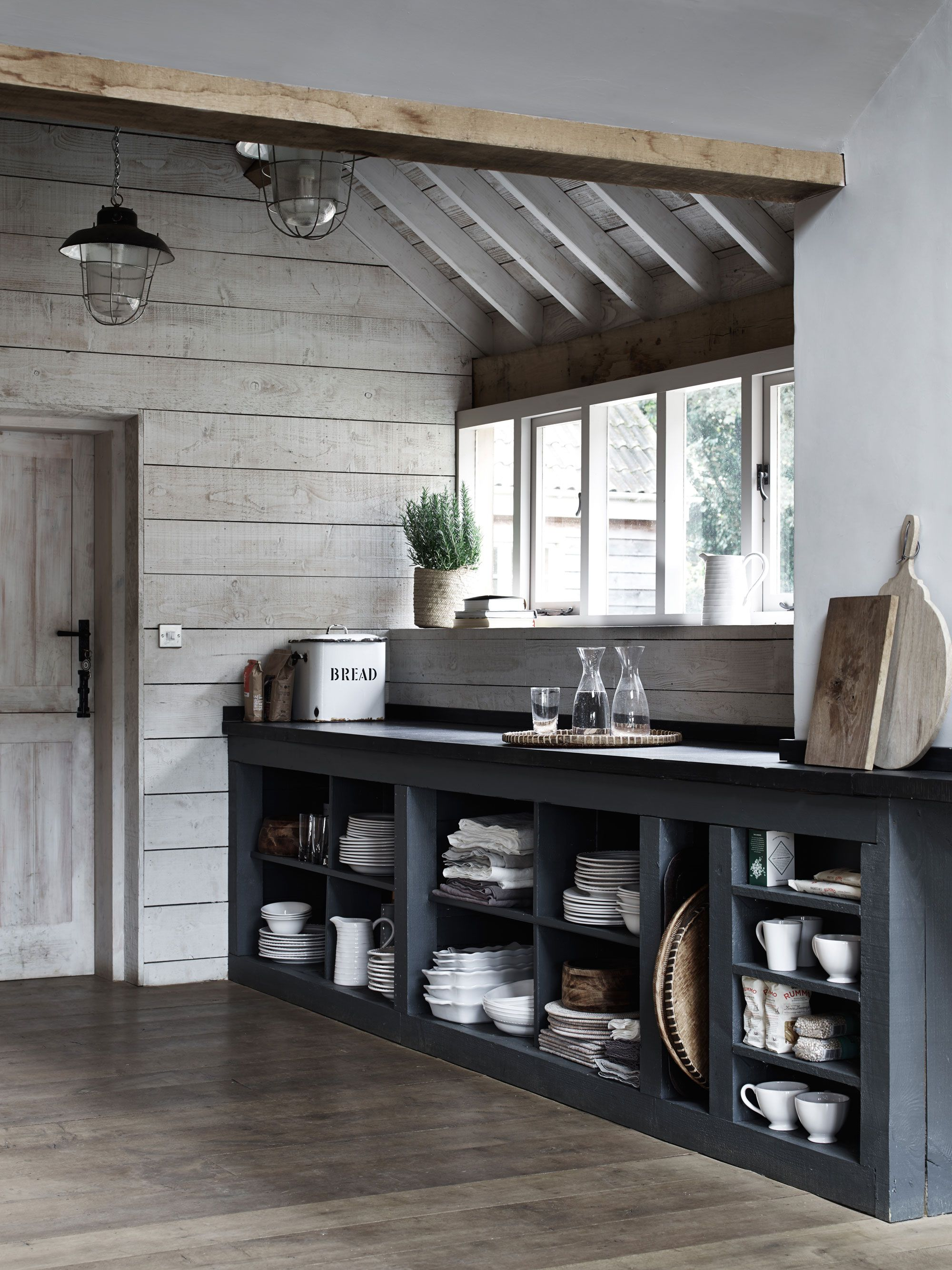 Open kitchen storage. Simple and efficient. #ShakerStyle ...